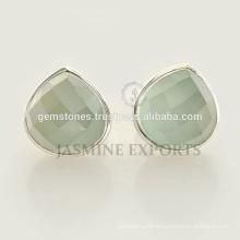 Wholesale Alibaba 925 Sterling Silver Aqua Chalcedony Gemstone Pear Dangle Earrings Jewelry