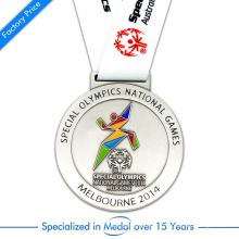 Médaille de roulement en argent sterling personnalisée en cire de Chine pour les Jeux olympiques spéciaux