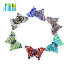Handmade Glass Butterfly Murano Foil Lampwork Glass Pendants for necklace DIY 12pcs/box, MC0006