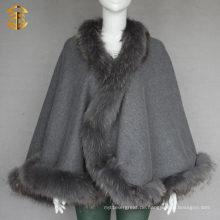 Frauen Winter Outwear Genuine Waschbär Pelz Trim Red Wool Cape