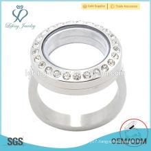Crystal floating locket custom made stainless steel rings, silver rings, rings jewelry