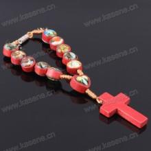 Handgefertigte Schnur Hölzerne Rosenkranz Armband mit vielen Saint Bilder