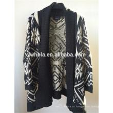 Новый дизайн черный и белый Batwing женщин вязать кардиган свитер