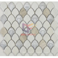 White Ceramic with Wooden Pattern Stone Mosaic Tile (BK003)
