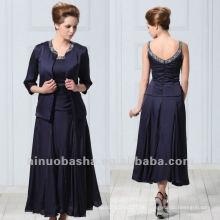 Elegance Scoop Tee Länge mit Jacke Eine Linie Perlen Ornamente Mutter der Braut Frauen Anzüge für Hochzeitsfest Kleid