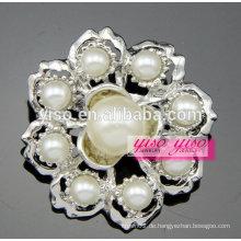 Bling Schmuck Rhodium überzogene weiße Schale Perle Brosche