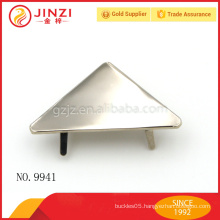 Nickel plain style triangle design name plate for purses fittings