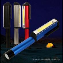 250 Lumens Torch Work Light Clip de poche magnétique Camping COB Pen Light
