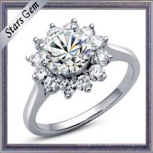 Forma de la flor hermosa flor brillante anillo de la joyería de diamantes