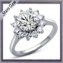Moda linda flor forma brilhante anel de diamante jóias