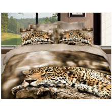 100% Lion Mattress Toppers Cotton Quilt with Reactive 3D Print Chinese Panda and Leopard Bed Cover Set