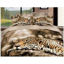 100% colchão de leão colchas de algodão com impressão 3D reativa panda chinês e leopardo conjunto de capas de cama