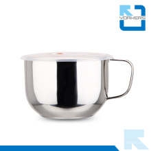 Polimento fino 304 Stainless Steel Instant Noodle Cup & Bowls com alça e tampa