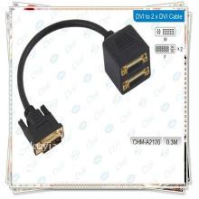 Hochwertiges Gold überzogenes Schwarzes DVI-I (29 Pin) Mann zu 2 DVI-I (29 Pin) Weiblicher DVI 24 + 5 Splitter 30cm