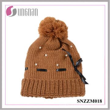 El mejor diseño caliente señoras hermosas Pearl Bow Knit Hat Fur Ball lana Cap