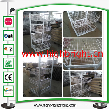Four Tiers Wire Mesh Basket Rack