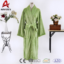 Fast dry green microfiber robe solid color flannel fleece long bathrobe