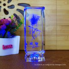 Os presentes de aniversário da novidade gerenciem o cubo da flor de Rosa de cristal do laser 3D