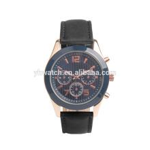 Reloj deportivo automático de cuero negro mecánico de marca de lujo para hombres