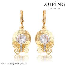 91366 Xuping Nuevo diseño de pendientes chapados en oro por mayor con piedra blanca