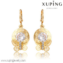 91366 Xuping New designed wholesale gold plated earrings with white stone