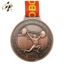 Échantillon gratuit de sport en alliage de zinc en bronze médaille de levage de poids avec cintre