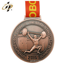 Free sample custom sport zinc alloy bronze weight lifting medal with hanger