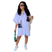 C3889 white color Women sexy fashion dresses women printed logo Shirt dress hotsale women clothing 2020