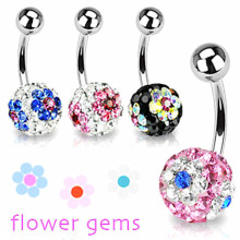 Flower Gem Belly Button Ring Crystal Ball