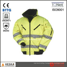 Mens Hi Vis Workwear High Visibility 3 in 1 Bomber Jacket with Detachable Sleeve