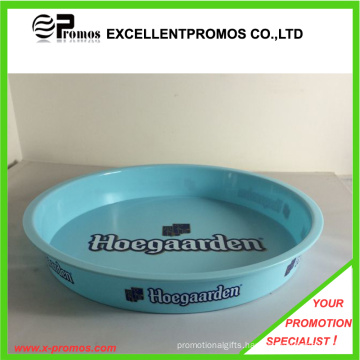 Logo Printed Plastic Round Bar Serving Tray (EP-T411122)