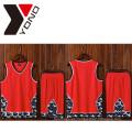 Camisa 100% del poliester de la camiseta del deporte del jersey del baloncesto del desgaste del baloncesto de la impresión del hombre