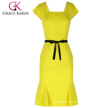 Grace Karin Ladies Cap Sleeve Square Neck Hips-Wrapped Mermaid Bodycon Women Yellow Dress With Black Belt CL010450-1