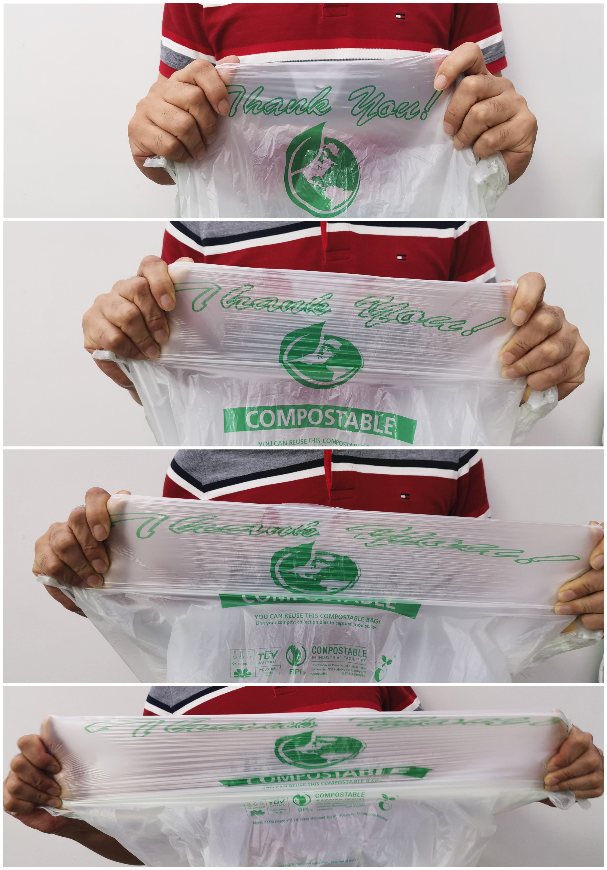 EN13432 certified PLA Disposable Shopping Bags