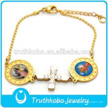 18K oro Jesús pequeño brazalete de cadena de la bola con los santos al por mayor CZ piedra religiosa cruz pulsera
