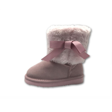 Pink Winter Suede Girl Kids Boots