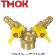 válvula de gas de alambre interno de la manija doble de mariposa de latón