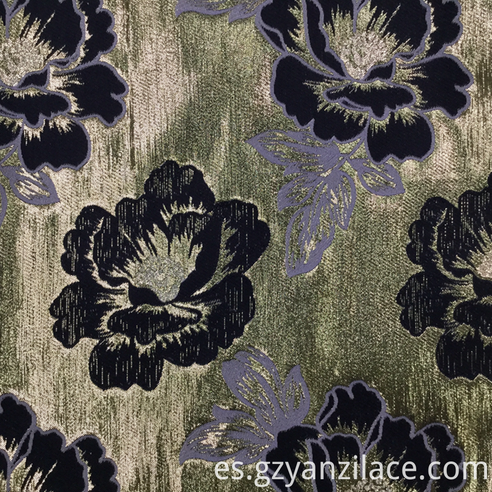 Gold Floral Chenille Jacquard Fabric for Dress