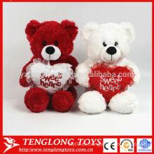 Par de bodas de oso rojo y blanco peluche peluche oso de juguete