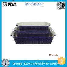 3шт дешевые синий Керамическая кекса Набор посуды