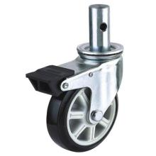 EG02 Bole Stem PU Caster With Dual Brake (Black)