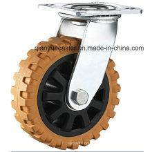 Roulette à roulement à main lourde Roulette en PU, pivotante avec plaque supérieure