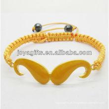 Bracelete em liga de barba de esmalte com fio de ouro