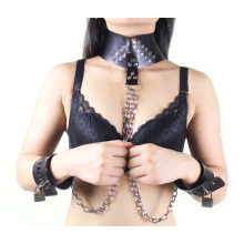 Sm Sex Handcuff Joint Neck Ring with Metal Chain Sex Bondage Sex Restraint Bdsm Sex Toys