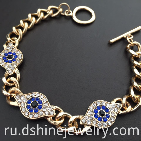 Gold Evil Eye Chain Bracelet