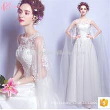 Faddish manga longa barato aplicou uma linha vestido de noiva de renda