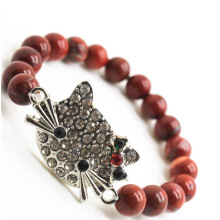 Rouge jaspe 8MM perles rondes Stretch Gemstone Bracelet avec Diamante en alliage tête de chat pièce