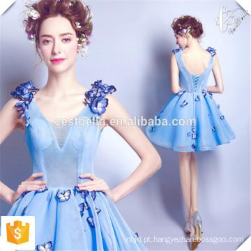 New Lady Dresses Light Blue Short Frock Dresses com Handmade Butterfly OEM Factory Fashion Short Mini Dresses para senhoras