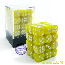 Bescon 12mm 6 Sided Dice 36 in Brick Box, 12mm Six Sided Die (36) Block of Dice, Marble Yellow