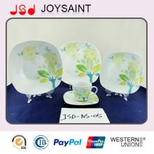 16pcs melhor venda quadrado forma porcelana design jantar conjunto